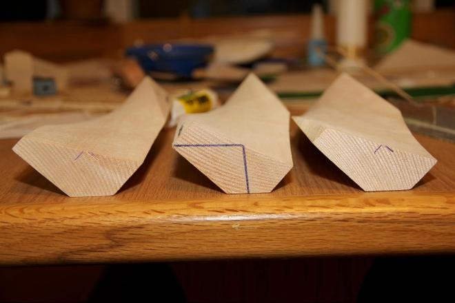 "Three balsa blocks with 1"" wide bevel on the back side."